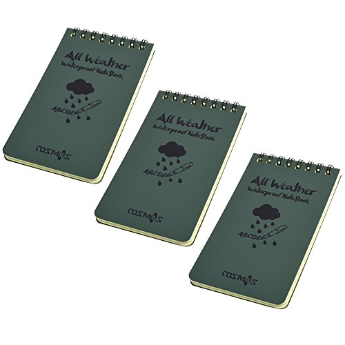 Cosmos Pack of 3 Army Green Tactical All-weather Waterproof Pocket Notebook/notepad
