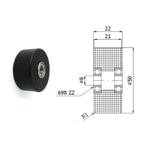 Zabi Doppelte Kunststoff-Polyamid-Rollen Nylon mit Kugellager Ø 50mm