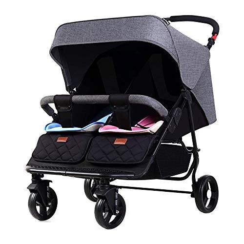 HYDDG Kinder Dreirad, Doppelt Kinderwagen zum Neugeborenes und Kleinkind, Zwilling Baby Kinderwagen Leicht Buggy Seite durch Seite zum Säugling, Einfach Falten,Schwarz
