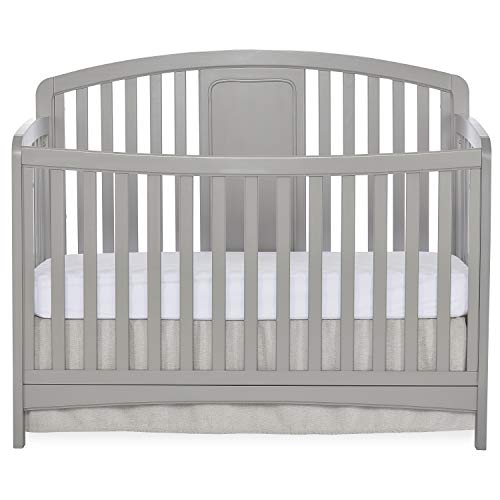 Sweetpea Baby Arc 4-in-1 Convertible Crib in Silver Grey Pearl, Greenguard Gold Certified