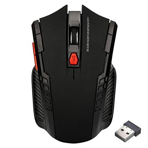 Mouse wireless, mini mouse wireless da 2,4 Ghz mouse da gioco ottici e ricevitore USB per laptop pc - nero