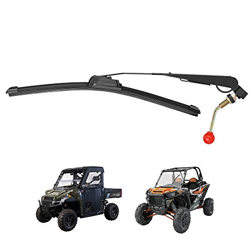 Kemimoto UTV Windshield Wiper Kit Hand Operated Manual Windshield Wiper for Hard Coated Or Glass Windshields Compatible with RZR Ranger General Maverick X3 Commander Defender Pro