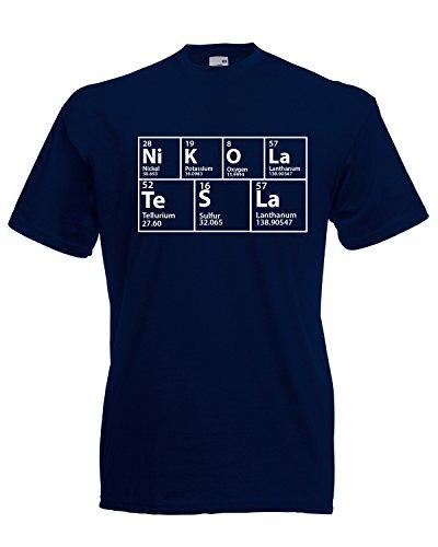 The Big Bang Theory - Mesa periódica inspirada en Nikola Tesla. Camiseta Azul azul marino oscuro L