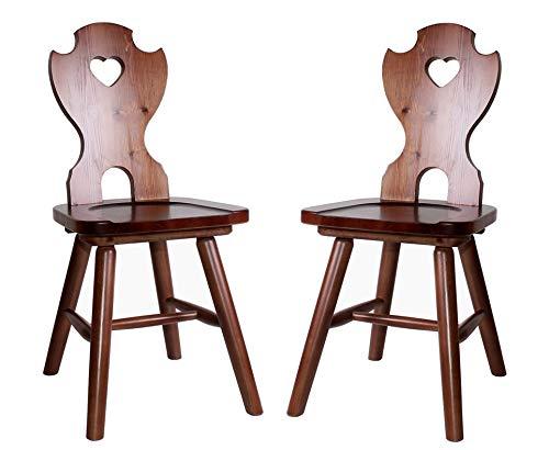 pemora 2-er Set Bauernstuhl Landhausstuhl traditioneller Holzstuhl mit Herz rustikaler Stuhl aus Kiefer massiv ROSI nussbaum