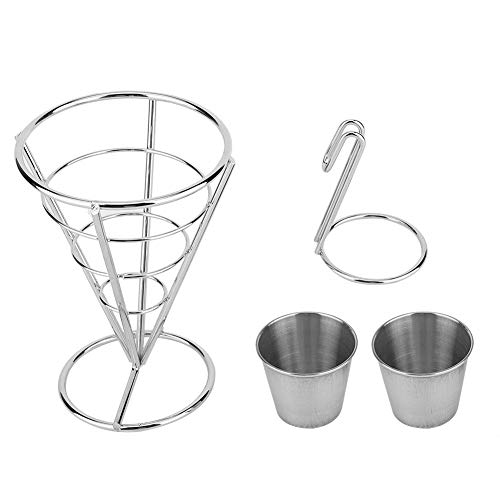 Metallbeschichtung Pommes Frites Standhalter Buffet Kegel Snacks Display Stand Pommes Frites Körbe mit Sauce Dippers(Double cup)