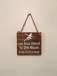 Lost Boys' Hideout Peter Pan Nursery Sign