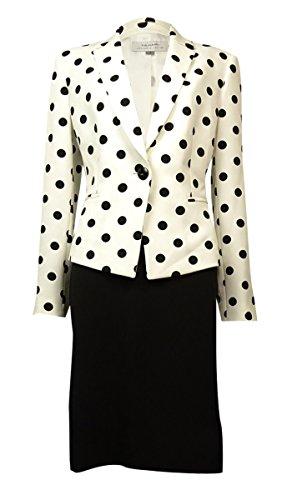 Tahari ASL Notch Lapel Polka Dot Skirt Suit, 4, Ivory White/Black