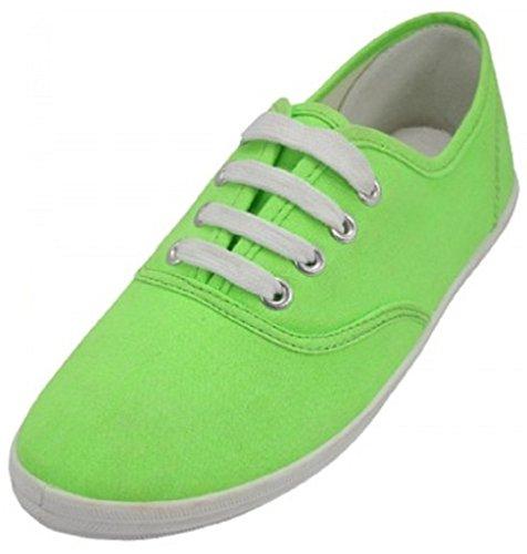 Shoes 18 Damen-Leinenschuhe, Schnürschuhe, Sneakers, in 18 Farben erhältlich, Weiá (neon green), 38 EU
