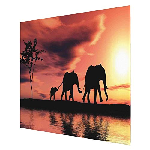 African Elephant Silhouettes River Wall Art Poster Wall Hanging Art Prints Canvas Oil Painting Art Work Mid Century Home Decor for Men 20x20 Inch