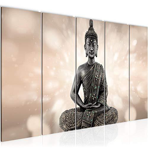 Bilder Buddha Feng Shui Wandbild 150 x 60 cm Vlies - Leinwand Bild XXL Format Wandbilder Wohnzimmer Wohnung Deko Kunstdrucke Braun 5 Teilig - MADE IN GERMANY - Fertig zum Aufhängen 506656a