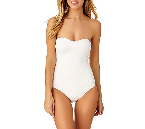 Anne Cole Women's Twist Front Shirred One Piece Swimsuit, White, 14