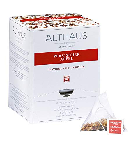 Althaus Tee PERSISCHER APFEL ⋅ Früchtetee im Pyramidenbeutel PYRA PACK ⋅ Aromatisierter Früchtetee mit Apfelgeschmack ⋅ 15 x 2,75g