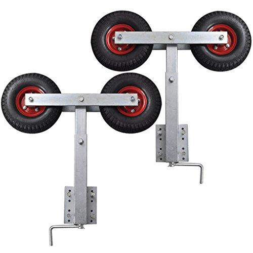 Festnight Doppelrad-Kurbelstütze Stahlrahmen Sliphilfe Bootstrailer H?he von 59-84 cm 1 Paar für Bootsanh?nger