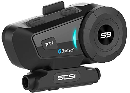 Motorcycle Bluetooth 4.1 Helmet Headset - SCSETC S-9 Intercom Communication Systems Kit, Supports 6 Riders Group Intercom, Handsfree Calls Voice Command with Speakers Headphones for Motorbike