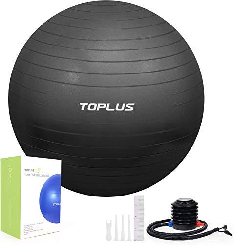 TOPLUS Pelota de Gimnasia Anti-Reventones Bola de Yoga Pilates y Ejercicio Balón para Sentarse Balon de Ejercicio para Fitness 300 kg con Bomba de Aire 65cm (Negro 75cm)