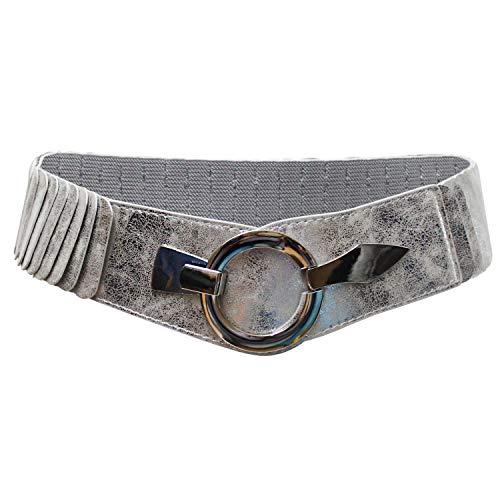 Glamexx24 Cintura larga 6cm di Pelle da donna Estensibile alta vita Elegante Ciremonia con Anello in argento