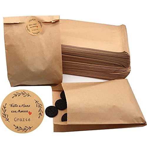 Sacchetti Alimenti in Carta Kraft Bustine Sacchettini Mini per Confetti Confettata Caramelle + 60pz Adesivi Adesivi Grazie Fatto a Mano per Regalo Natale Bomboniere Matrimonio (11*16)