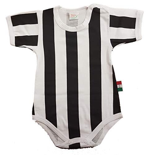 Zigozago Body Made in Italy a Manica Corta a Righe Bianco e Nero Stampate Fatto a Mano in Cotone - Taglia 0-1 Mese 50-56 cm, Colore Bianco