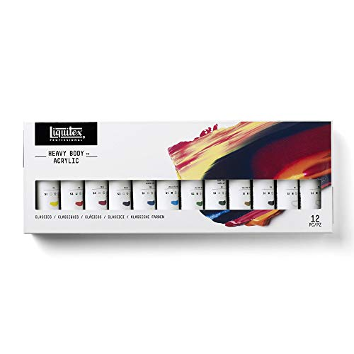Liquitex Professional Heavy Body Acrylic Paint Classic Set, 12 Colors, 2 Fl Oz Tubes