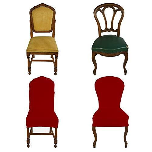 Banzaii Funda Elastica para Silla con Respaldo Redondo - Cubierta para Sillas de Oficina, Cocina, Comedor, Dormitorio, Hotel o Restaurante - 4 Piezas Made in Italy Burdeos
