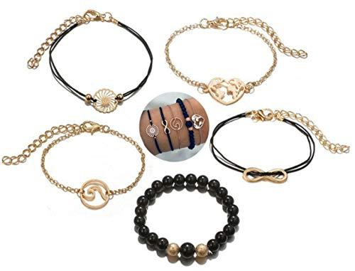 5 teiliges Armband Set | Bohemian Indi Style | Verstellbar | Schwarz Gold | Modeschmuck Glitzer Herz Welt Armreif Frau Mädchen Love Unendlich Infinity Liebe
