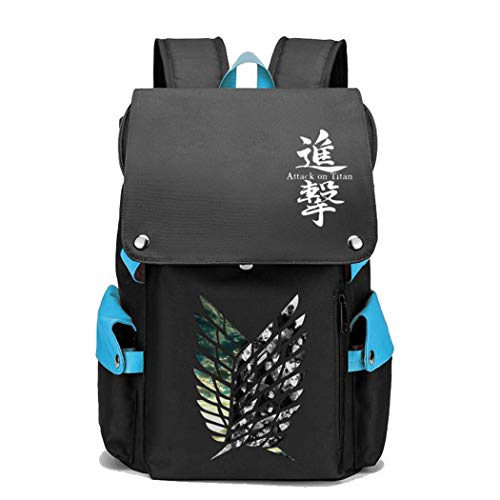 WANHONGYUE Attack on Titan AOT Anime Cosplay Unisex 15.6 Inch Laptop Backpack School Bag Rucksack for Travel/College/School/Work/Blue / 5