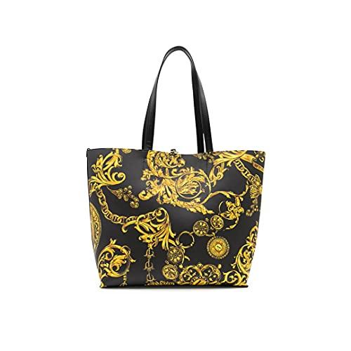 Versace Jeans Couture 71VA4BZ1 Bolsa de compras Negro Reversible con Estampado Regalia Baroque