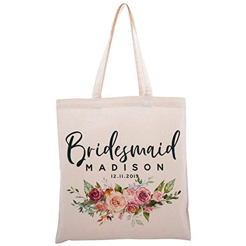 Personalisierte Tragetasche für Brautjungfern, Hochzeit, Junggesellenabschied, Partytüte, Design-8 (Beige) - ZEXPATOTEBAGS8C1P