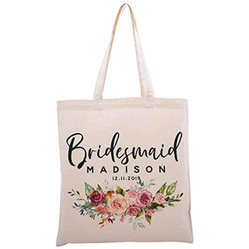 Personalized Tote Bag for Events Bachelorette Party Baby Shower Bridal Shower Bridesmaid Christmas Gift Bag   Customize Maid and Matron of Honor Gifts   Floral Title and Name   C1D08-Set of 6
