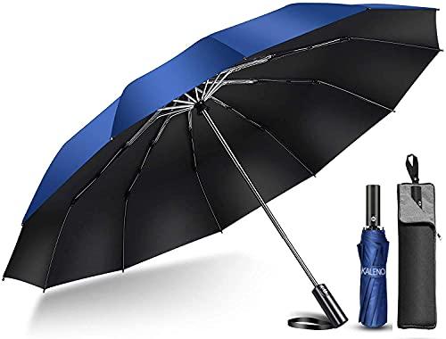 【2021年強化版 12本骨】 折りたたみ傘 自動開閉 軽量 折り畳み傘 メンズ 大きい Teflon晴雨兼用 台風対応 梅雨対策 大きい 超撥水 おりたたみ傘 210T高強度グラスファイバー 収納ポーチ付き (ネイビー)