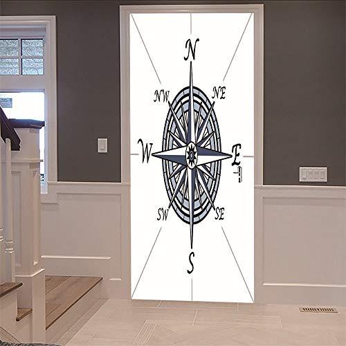WEIFENGX deurbehang 3D deurbehang wandsticker wandschilderij wanddecoratie (77 x 200 cm) kompas wallpaper voor uw slaapkamer decoratie PVC waterdicht vinyl stickers trekkers