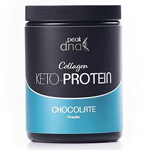 Keto Collagen Protein Powder with MCT Oil | Hot Drinking Chocolate Beverage | 500g-20 Servings | Keto, Fasting, Paleo & Primal Diet | Natural Fat Burner with Bovine and Marine Peptides and Coconut Oil