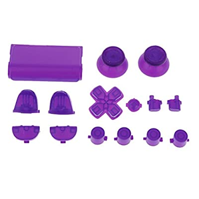 MagiDeal Replacement Luminous Joystick Thumbstick D-pad Trigger Anolog Button Mod Set Kit Cap Bullet for Sony PS4 Playstation Controller Night Purple