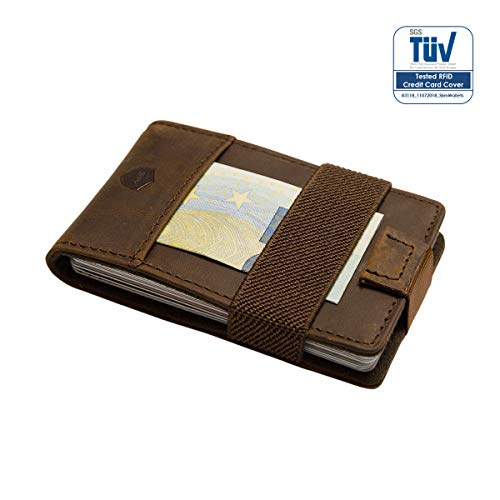 SECUREFY® Nano - TÜV zertifiziertes RFID Slim Wallet - Kreditkartenetui aus hochwertigem Leder für bis zu 15 Karten - Soft Touch Vintage Leder - Braun