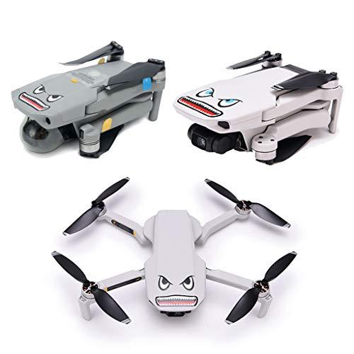DJFEI Schutzfolie Aufkleber für DJI Mavic Air 2S/Air 2/Mini 2 Drohne, 2 Sets Stickers Kit Shark Aufkleber Haifisch Decals für DJI Mavic Air 2/ Mini 2, mit Akku Nummer Aufkleber
