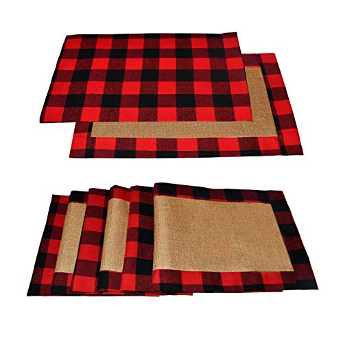 Senneny Set of 6 Christmas Placemats Buffalo Check Placemats Red Black Plaid Reversible Burlap & Cotton Placemats for Christmas Holiday Table Home Decoration (Red and Black)