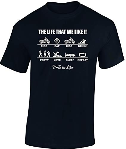 Baddery Camiseta: Chopper Life - Regalo Motero-s - T-Shirt Biker Hombre-s y Mujer-es - Motocicleta - Bike - Moto - Motociclismo - Club - Mecánico Maquinista - USA - Motocross Vintage (S)
