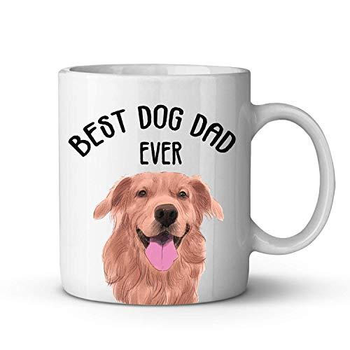 N\A Best Dog Dad Ever Coffee Mug - Happy Golden Retriever Dog Funny Mug Design para Perros Amantes de los papás - Taza de té de cerámica Gran Regalo para papás, Hombres, Padre, Amigos, cumpleaños