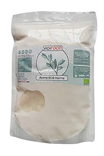 Farine d'Avoine Biologique Pure - 1kg - Sans OGM Sans Gluten Avenin Zero Avenin Avena - Aliments Diététiques à Haute Teneur en Fibres et Faible en Gras