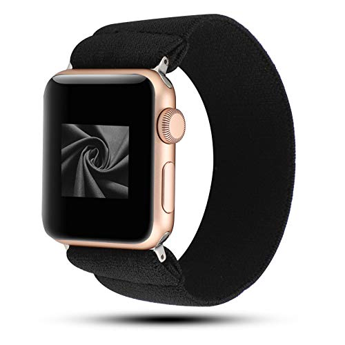 WONMILLE Scrunchie Band Compatible with Apple Watch Band Series 6/5/4 38mm/40mm, Nylon Elastic Bracelet Women Replacement Wristbands for iWatch 3/2/1 42mm/44mm Accessories (Black, 38mm/40mm)