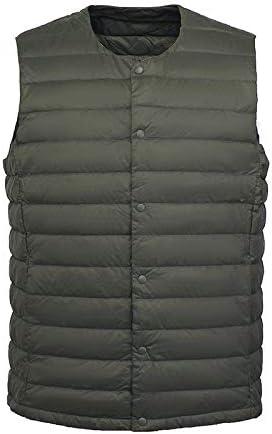 Vest Women Men White Down Vest Man's Clothing Ultra Light Down Waistcoat Portable Sleeveless Coat Man Winter Round Collar Warm Vest Vest Warm (Color : Army Green, Size : XXXL)