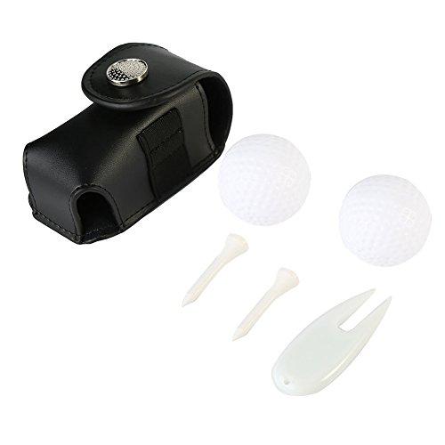 Dwawoo Tasche für Golfbälle, Kuhfellgolf T-Shirt mit 2 Golfbällen, 3 Golf Tees, Divot Werkzeug(Schwarz)