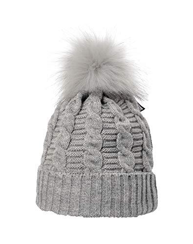 Miuno MJ195 - Berretto invernale con pompon, in pelliccia sintetica grigio. Taglia unica