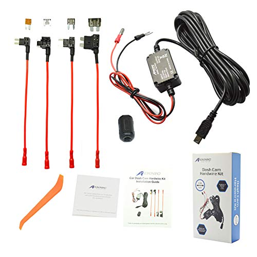 MEKNIC Dash Cam Hardwire Kit 11.5FT Mimi USB Hardwire Kit for Car Dash Camera,12V-30V to 5V 2A Mini USB Dash Cam Hardwire Kit with Battery Protection,4 Fuse Tap Cables (Second Generation)