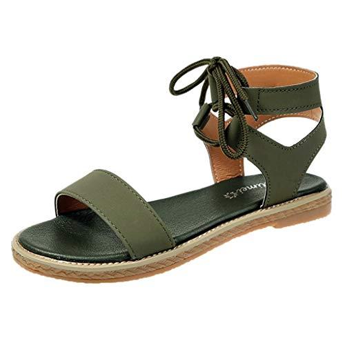 iYmitz Damen Elegant Peep Toe Sandaletten Sommer Schuhe Knöchelriemchen Sommersandalen Plateau Krawatte Sandalen für Frauen(Grün,EU 38)