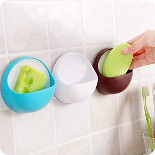 WNDRZ Plastic Suction Cup Soap Toothbrush Box Dish Holder Kitchen Shelf Sponge Rack Bathroom Shower Accessory Soap Holder Bath Basket (Color : Blue)
