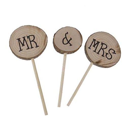 ULTNICE 3 Stück Mr Mrs Holz Torten Topper für Hochzeit Verlobung