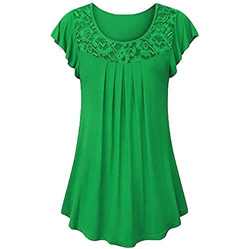 Blusa Mujer De Gran Tamaño Cuello Redondo Encaje De Color Sólido Mangas De Loto Dobladillo Irregular Mujer Camisa Diseño Clásico De Verano Uso Diario Mujer Top B-Green S