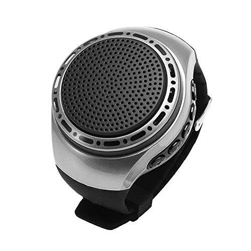 DIDIOI Orologio da Polso Altoparlante Bluetooth, Card con Radio FM Portatile Mette in Mostra Esterno Funzionare LED Colorati Scheda di Memoria da 32 GB,Nero