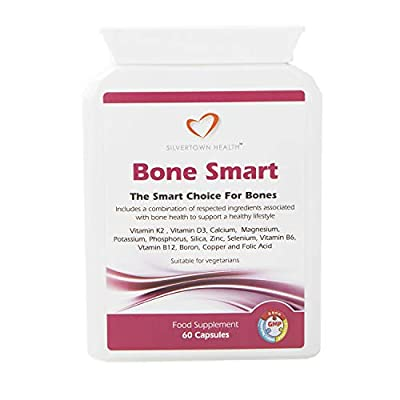 Bone Smart 60 Capsules - Premium Bone Support Food Supplement. Fourteen Key Nutrients Including Vitamin K2 (as Menaquinone 7-Natto),Vitamin D3, Calcium, Magnesium And Much More - New Formula /Packaging from July 2017 from Silvertown Health